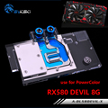 BYKSKI Water Block use for PowerColor RX580 Red DEVIL 8G RX590 / Video Card Full Cover Graphics Card Copper Radiator Block RGB