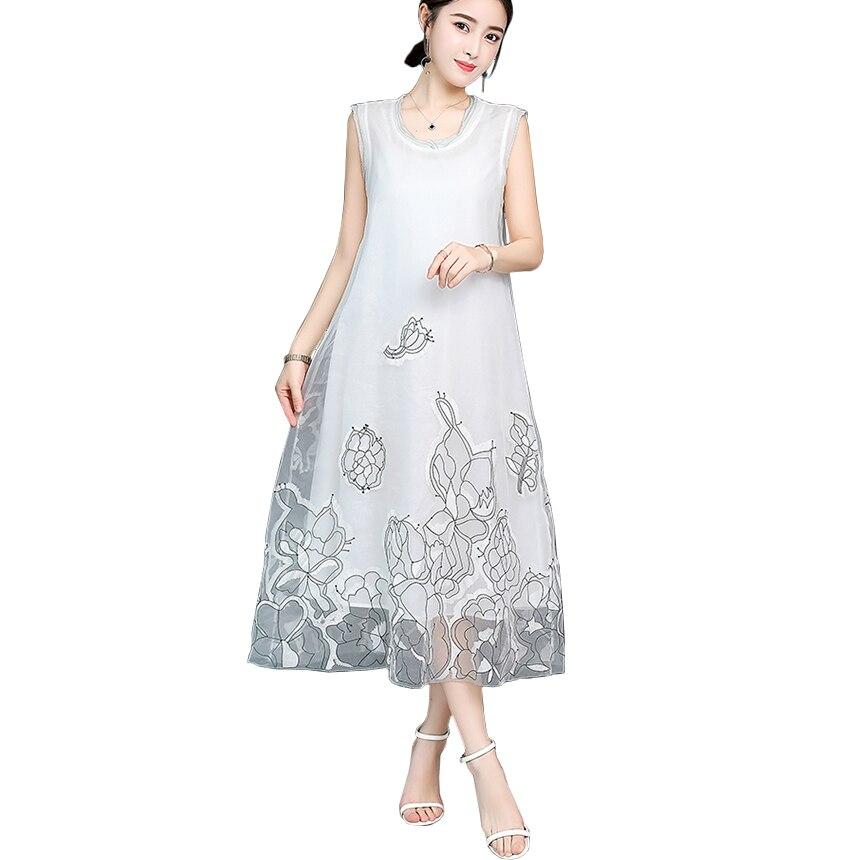 2018 Summer White Silk Sleeveless Women Dress A Line Loose Flower Embroidery Vintage Long Maxi Dresses Ladies Elegant elbise