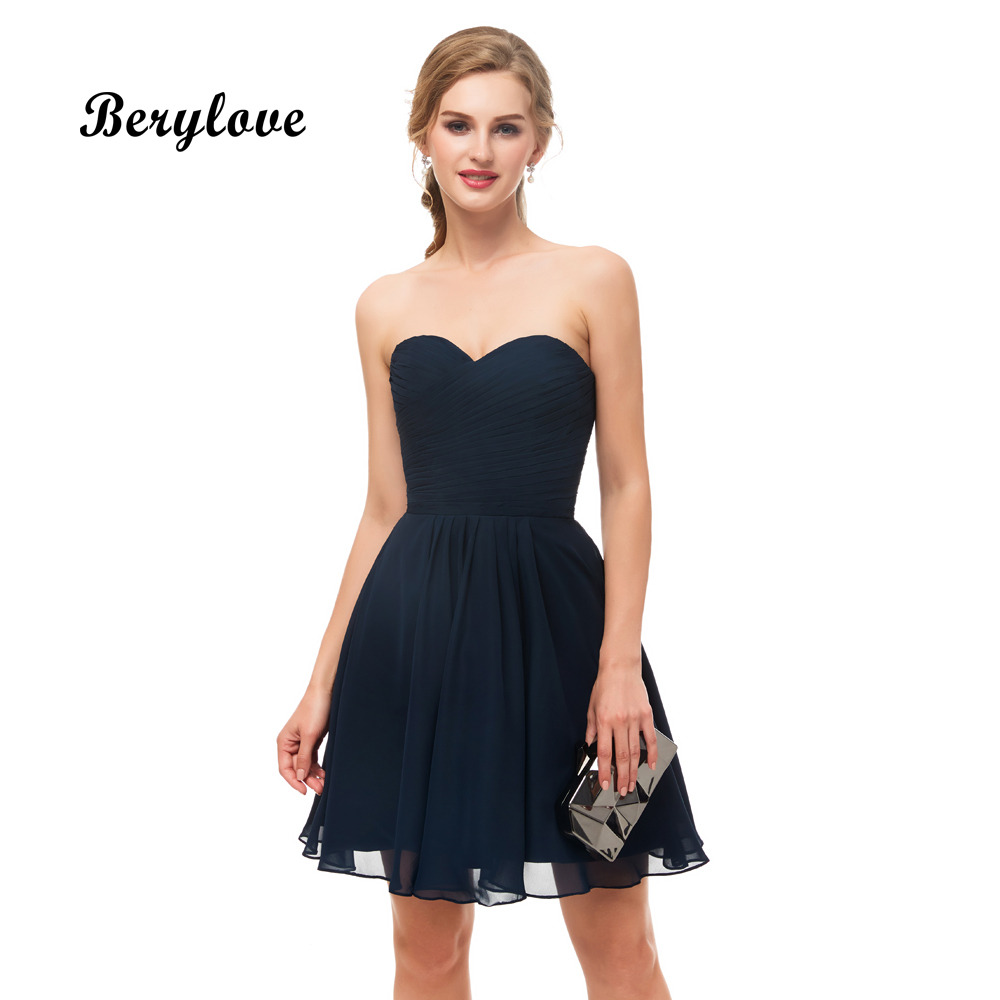 Berylove Cute Short Bridesmaid Dresses 2018 Mini Dark Navy Blue Bridesmaid Gowns Plus Size Strapless