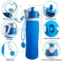 Silicone Foldable 750ML Water Bottle For Camping Travel And Running