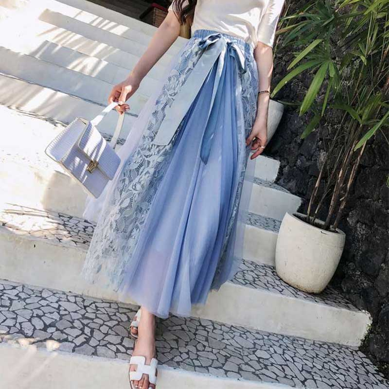 Patchwork Summer Mesh Skirts Hollow Out Ball Gown Pleated Skirts 2019 New Elegant Bow Fashion High Waist Lace Long Women Skirt