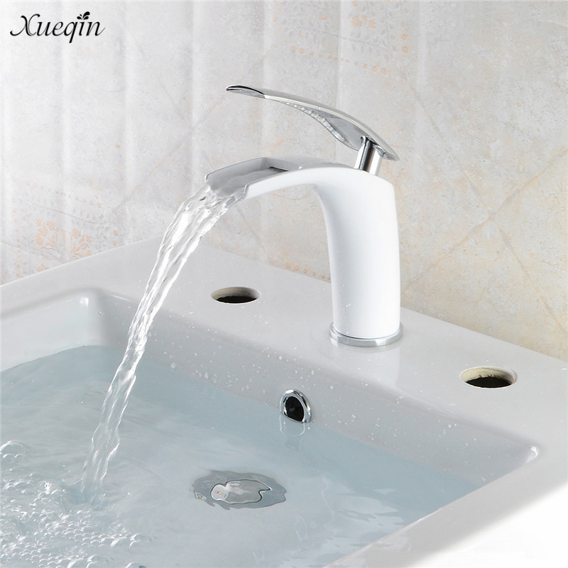 Xueqin Chrome European Style Deck Mount Bathroom Bath Faucet White Waterfall Basin Faucets Mixer Tap Cold And Hot Water Tap china sanitary ware chrome wall mount thermostatic water tap water saver thermostatic shower faucet