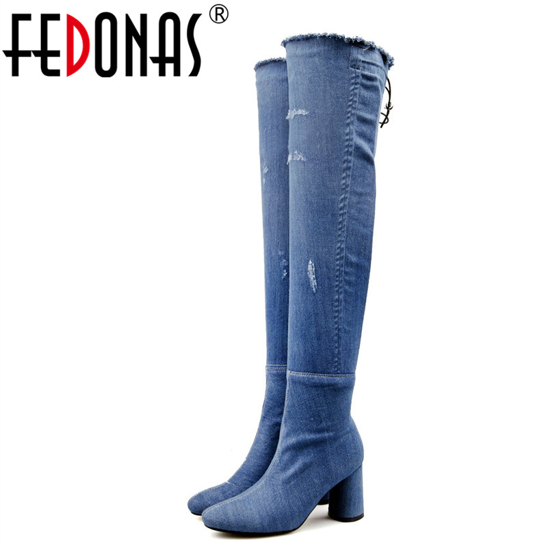 FEDONAS Women Fashion Dress Over The Knee High Boots Western Style Women Autumn Winter Shoes Woman High Heels Sexy Long Boots цены