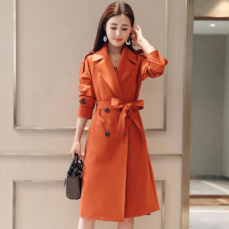Plus Size 4XLFashion Elegant Women Trench Coats Spring Double-Breasted Windbreaker Long Trench Coat For Women Outerwear C5326