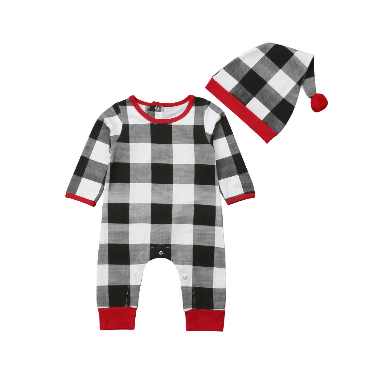 675279557 2018 Christmas Buffalo Toddler Infant Kids Baby Boy Girl Checked Romper  Jumpsuit Long Sleeve Outfits Plaid