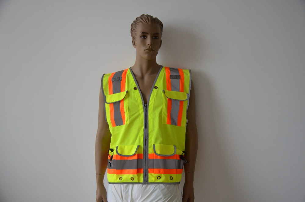 Good Quality High Visibility Reflective Waring Safety Vest Multi-Pockets fluorescence yellow high visibility