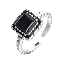 цены на Hot sell fashion black rhinestone retro style thai silver ladies`925 sterling silver rings party ring jewelry gift wholesale  в интернет-магазинах