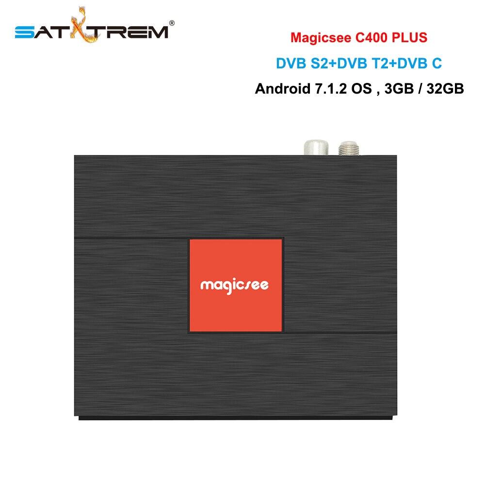 цена Magicsee C400 Plus Amlogic S912 Octa Core 3GB DDR3 32GB Android 7.1 4K Smart TV Box DVB-S2 DVB-T2 Cable Dual WiFi Media Player