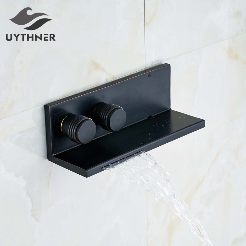 Modern Oil Rubbed Bronze Wall Mounted Bathroom Shower Faucet Tub Mixer Tap Dual Handles black oil rubbed bronze bathroom dual handles dual control wall mounted bath tub mixer tap handheld shower head faucet wtf566