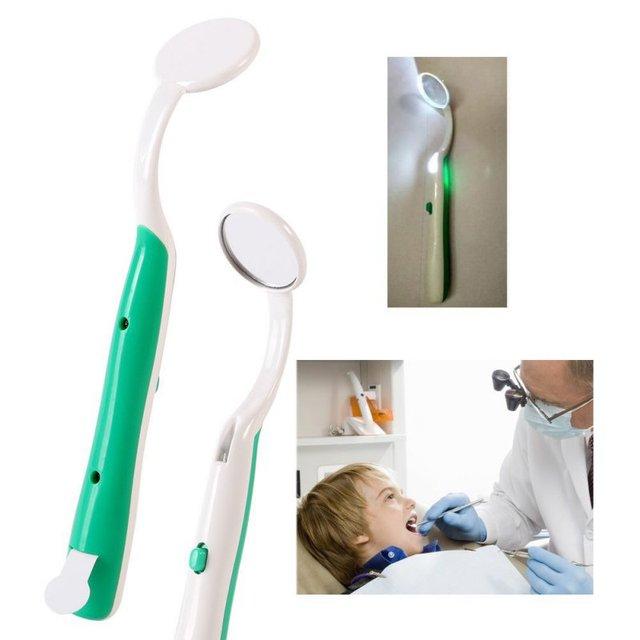 1pc Health Care Bright Durable Dental Mouth Mirror with LED Light Reusable Oral Hygiene Random Color Health & Beauty