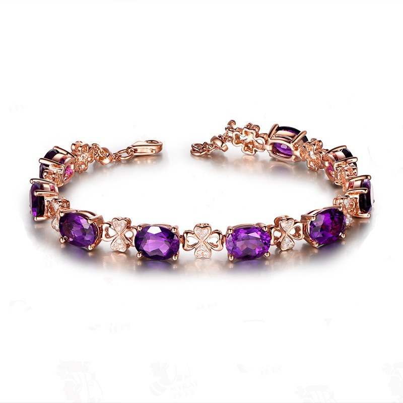 Natural Women Bracelet 18K Rose Gold Amethyst Leaf Bracelets Fine Jewelry Brand Bracelet Femme Gift