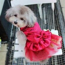 Платья принцессы для собак яркая Одежда для собак платье-пачка принцессы с бантом кружевная юбка для свадебной вечеринки одежда для домашних животных