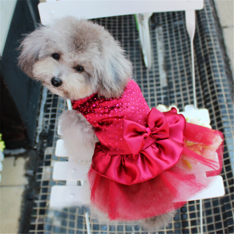 Princess <font><b>Dog</b></font> <font><b>Dresses</b></font> high-luminance color <font><b>Dog</b></font> Clothes Bow Tutu Princess <font><b>Dress</b></font> Puppy Lace Skirt <font><b>Wedding</b></font> Party Pet Apparel image