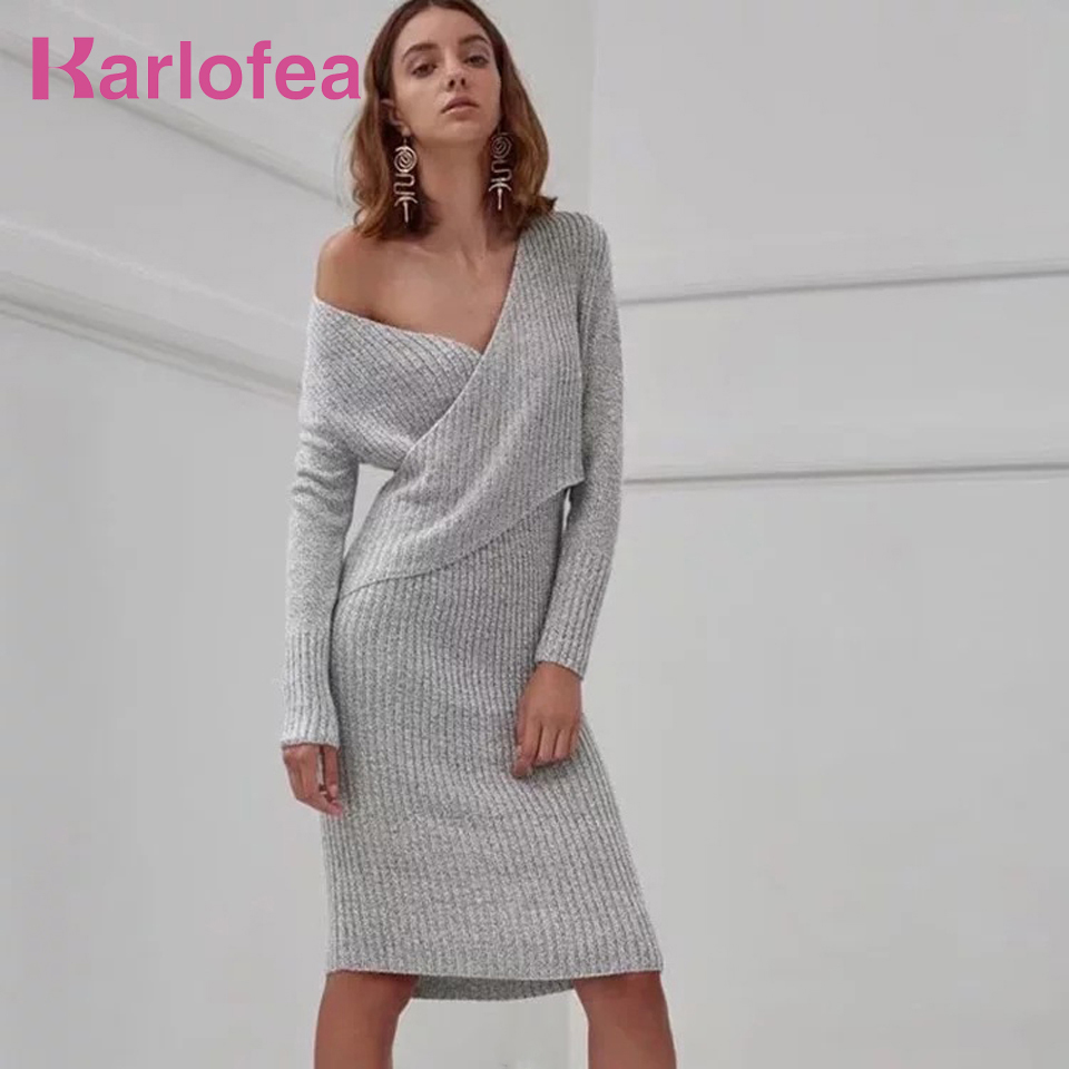 Karlofea New Arrival Autumn Knitted Midi Dress For Women Fashion V Neck Off Shoulder Long Sleeve Wrap Casual Outfits Daily Cloth