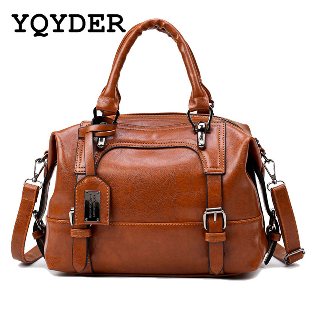 Brand Vintage Women Bag PU Leather Handbags Female Designer Belts Boston Shoulder Bags Ladies Crossbody Messenger Bag Sac A Main