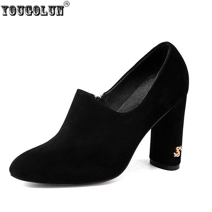 YOUGOLUN woman suede nubuck genuine leather high heels pumps women spring round toe shoes women's autumn winter work pumps free shipping 2016 spring autumn pointed toe rhinestone med heels woman shoes big size40 21 42 43 nubuck leather pumps shoes