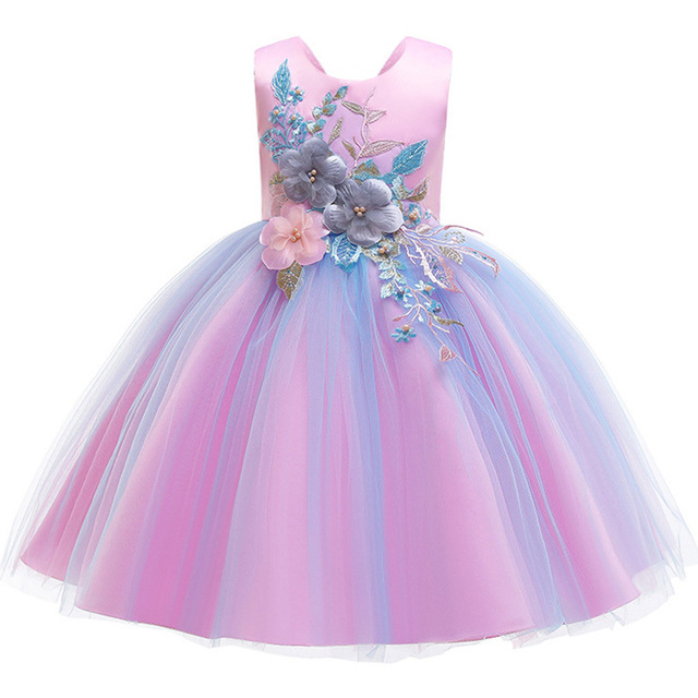 New pattern Girls Birthday Wedding Party Pageant Long Princess Dress Kid Christmas Costume Clothes Prom Dresses 4-14 years old 3