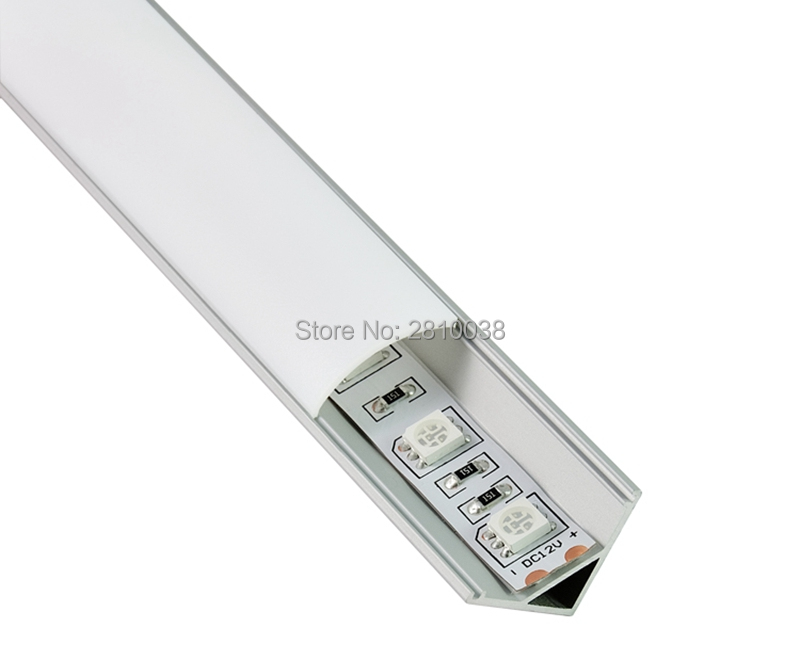 10 X 0.5M Sets/Lot 60 cornered Alu profile diffuser for led strip lights and recessed aluminium led profile for wardrobe lights
