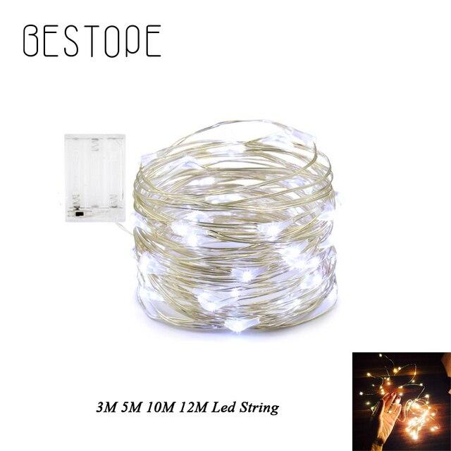 5 M 10 M 12 M 50 100 120 ĐÈN LED LED Dây Dây Đồng 3XAA Hoạt Động Bằng Pin Giáng Sinh Tiệc Cưới trang trí ĐÈN LED Dây Cổ Tích LiG