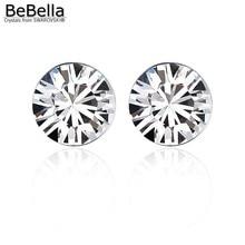 BeBella 5 мм круглые стразы серьги-гвоздики с кристаллами от Swarovski оригинальные модные украшения для женщин подарок для девушек и жены