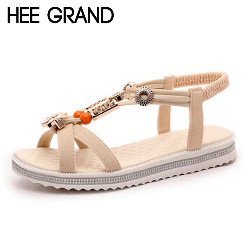 HEE GRAND 2018 Summer Slides String Bead Platform Shoes Woman Outside Slippers Slip On Summer Sandals Size 35-40 XWZ4602 lanshulan bling glitters slippers 2017 summer flip flops platform shoes woman creepers slip on flats casual wedges gold