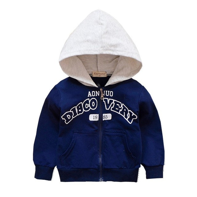 Spring Autumn Baby Outwear Boy Coat Children Girl Fashion Clothes Kids Letter Printing Zipper Hooded Sweatershirt Toddler Jacket