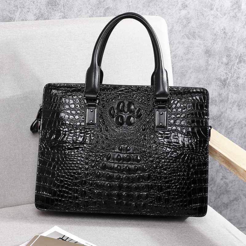 Wmnuo New Briefcase Bag Men Handbag Crocodile Pattern Cow Leather Man Shoulder Messenger Computer Bag Men Crossbody Business Bag - 4