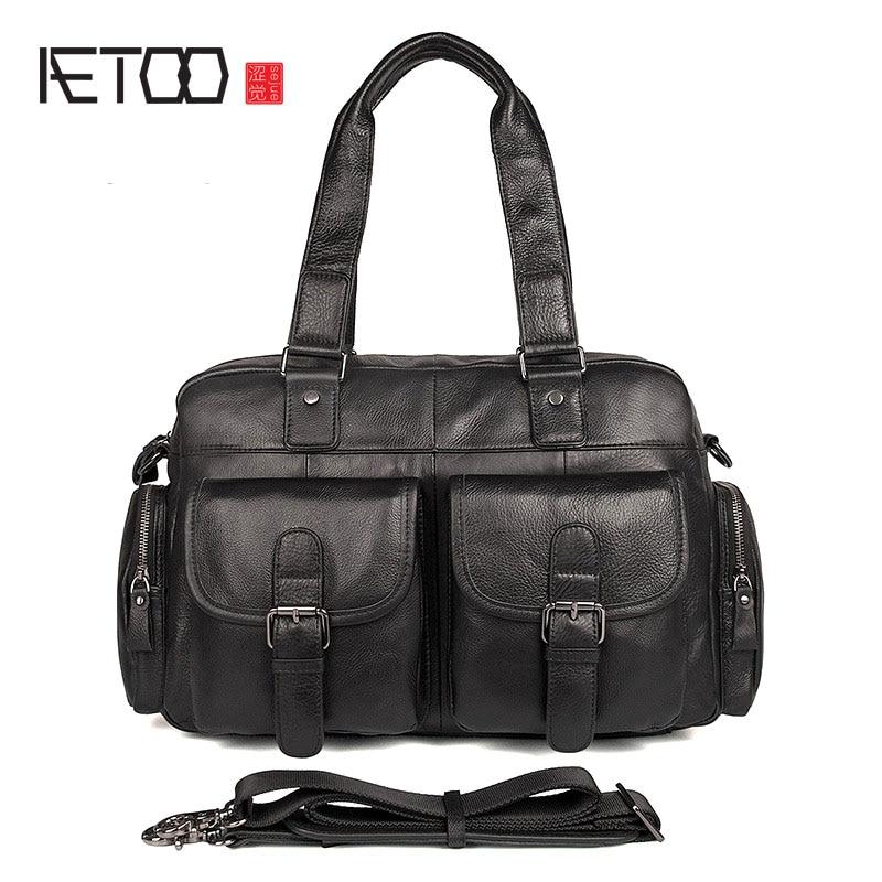 AETOO 2018 Men's handbag shoulder bag diagonal bag leather shoulder bag leather briefcase min handbag shoulder diagonal three purpose butterfly spiraea lingge bag mar25