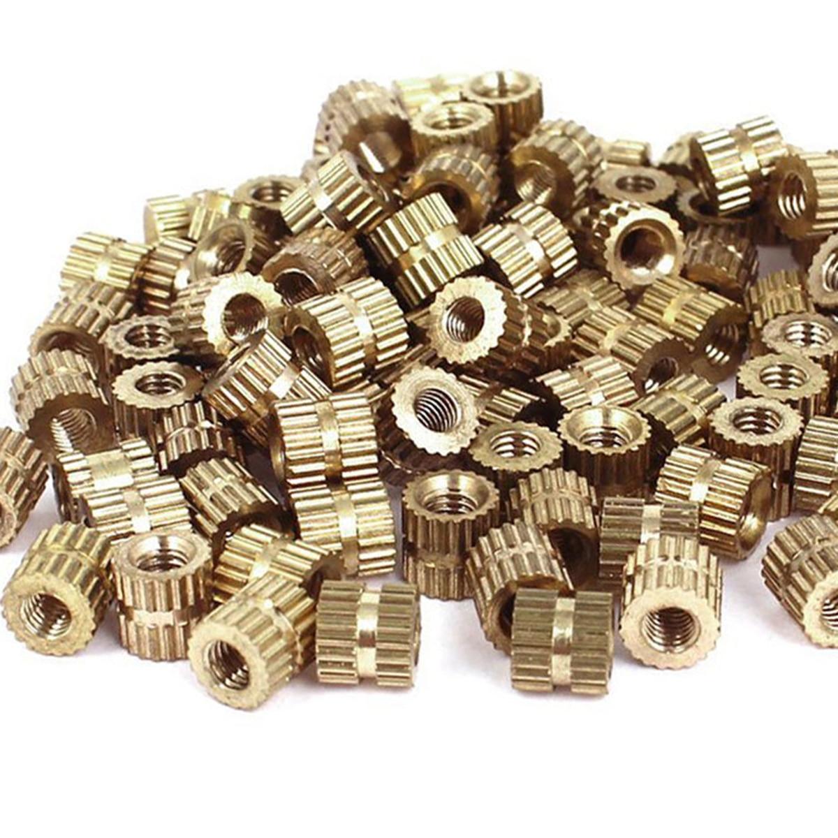 100pcs M3 Thread Metric Brass Knurl Round Insert Nuts 5mm Height 5mm(OD) Gold Tone