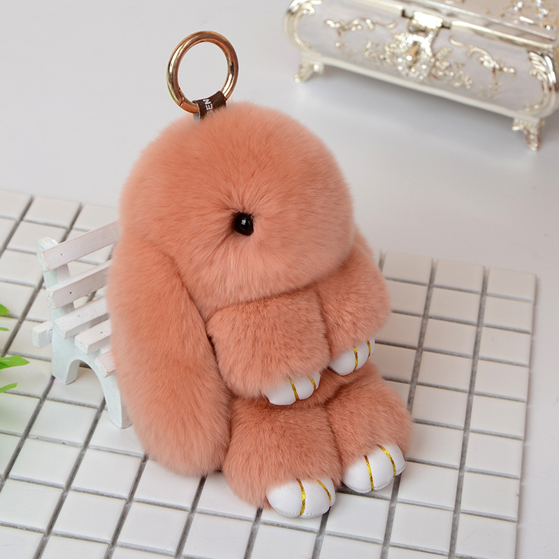 Realistic Cute Leather Rabbit Doll Bag Pendant Backpacks Schoolbag Hanging Ornament Luggage & Bags