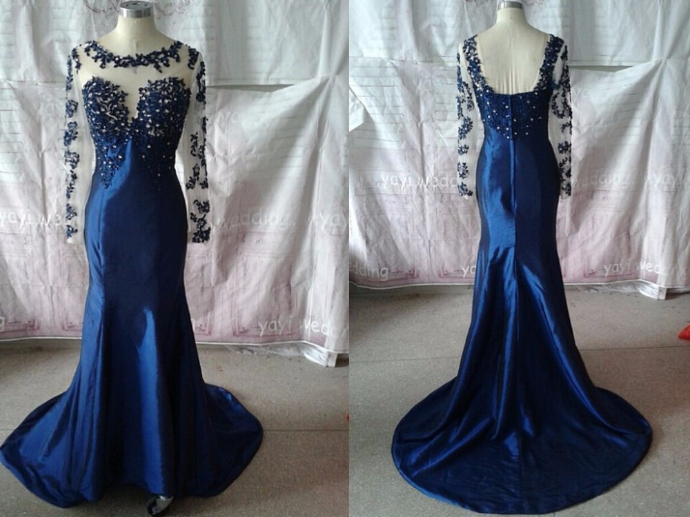 Aliexpress.com : Buy Mermaid Prom Dresses women Long Sleeves satin ...