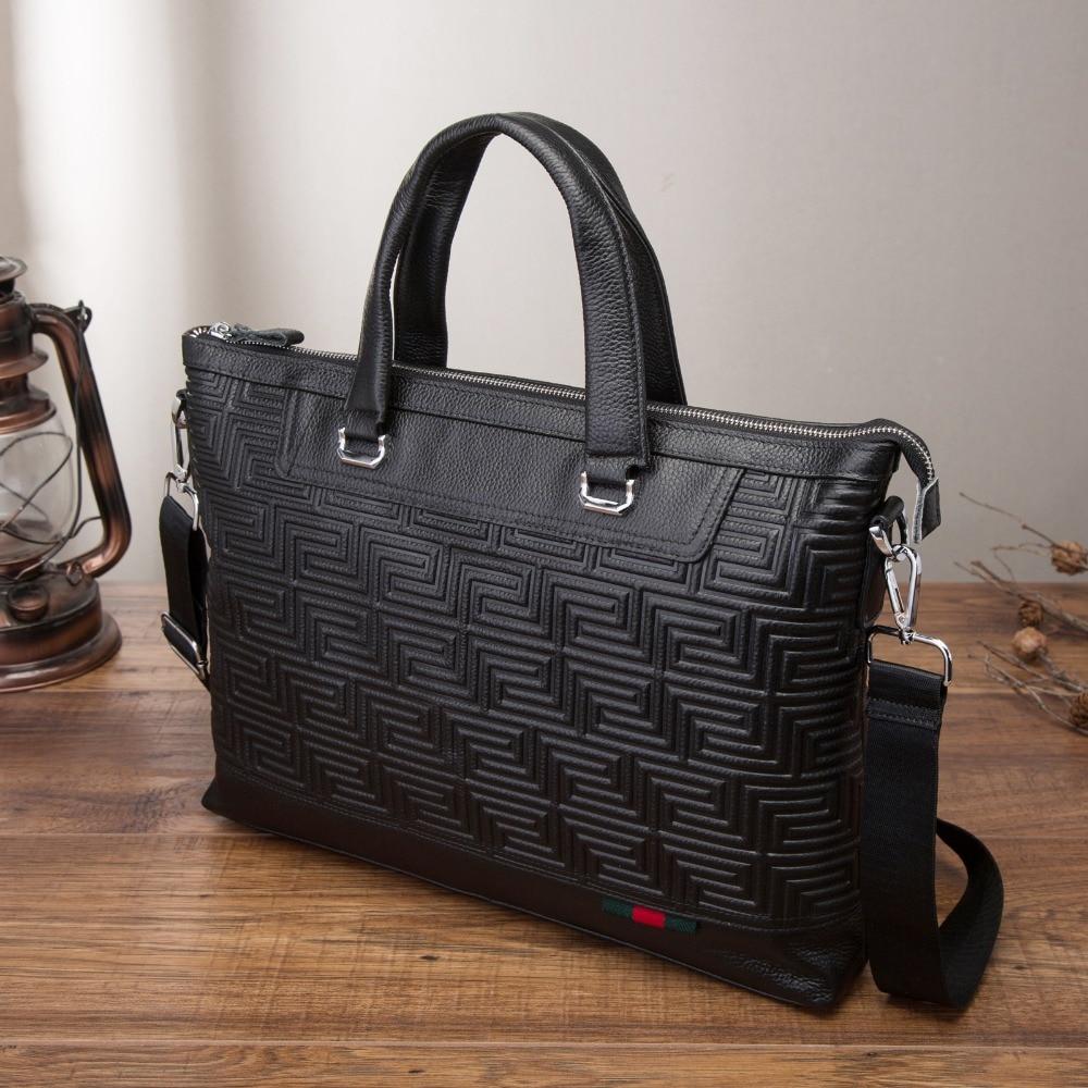Men Genuine Leather Antique Black Business Briefcase 15.6