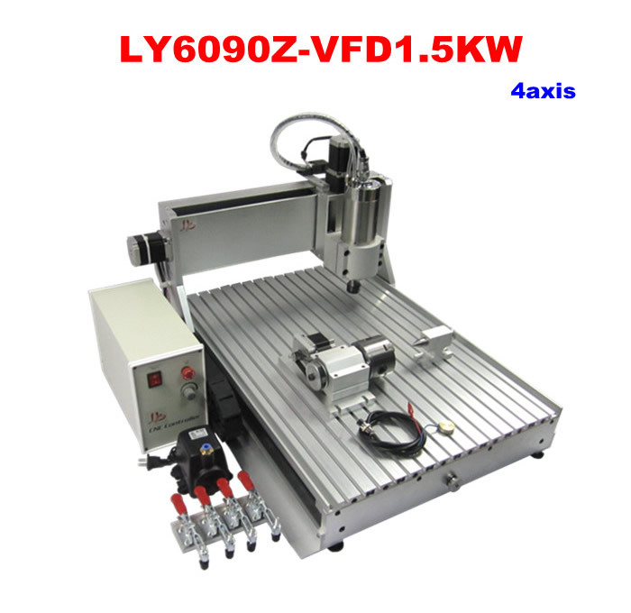 CNC engraving machine LY 6090Z-VFD1.5KW 4axis already assembled with 1.5KW VFD water cooling spindle mini machine cnc with water tank cnc 6090 4 axis
