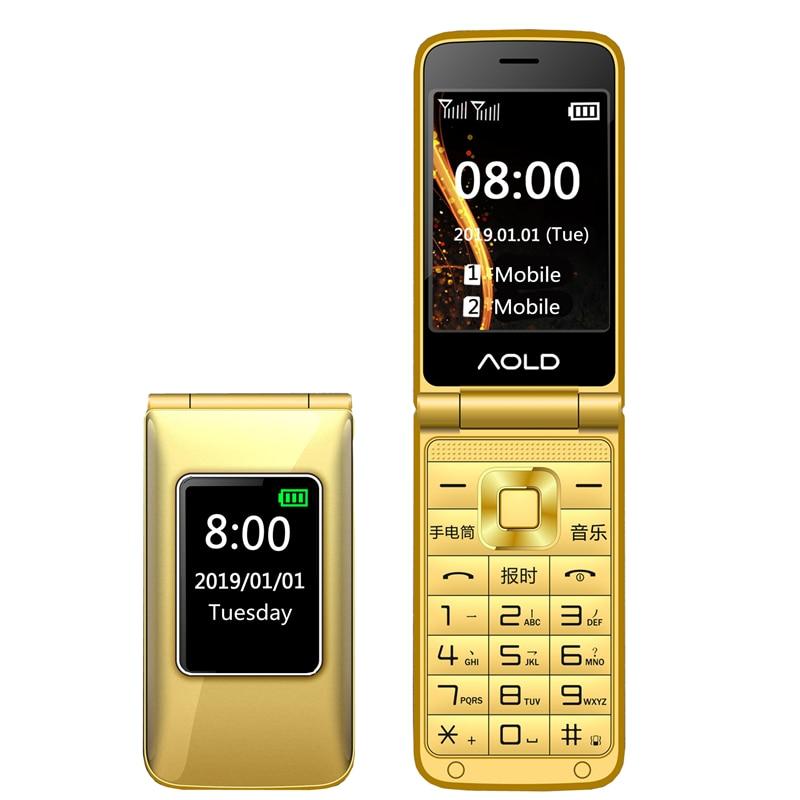 "Flip dual screen 2.8"" original flip russian keyboard cheap senior mobile phone Cellphones dual sim loud sound camara MP3"