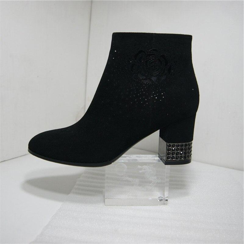 Daim Fn211 Cheville Bottes Black Cristal Courtes Pritivimin Chaussures Grâce Haute Femmes Sexy Moutons Automne Talons D'hiver Dames XdvdqFSxw
