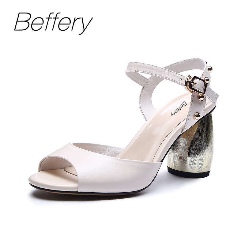 Beffery Summer Sandals Women Genuine Leather High heels Shoes for Women Summer shoes chaussures femme ete 2018 sandals