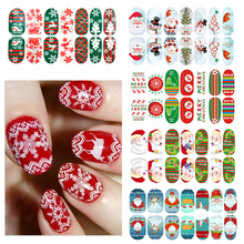 1pcs Luminous Glow Full Wraps Christmas Santa Nail Art Stickers Foils Tips DIY Nail Decal Decorations