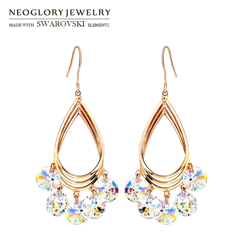 Neoglory Austria Crystal Dangle Long Earrings Elegant Geometric Style Rose Gold Color Trendy For Women Sale Party Gift yoursfs dangle earrings with long chain austria crystal jewelry gift 18k rose gold plated