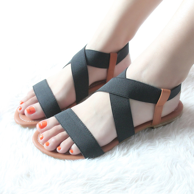 48ed3a5a65ac NEW 2016 Summer Rome Vintage Style Peep Toe Fashion Women Flat With Sandals  Shoes Elastic Band Female Rome Sandals Black Z1.5