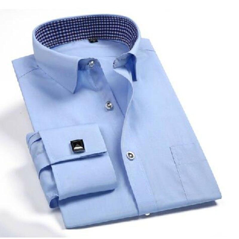 2018 Business Männer Langarm Formale Camisa Shirts, Einfarbig Hohe Qualität Französisch Manschettenknöpfe Design Arbeit Vestido Shirts Mit Einem LangjäHrigen Ruf
