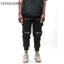 VFIVEUNFOUR 2019 New Arrivals Hip Hop Zipper Multi Pockets Harem Joggers Pants Sweatpants  Mens Harajuku Casual Male