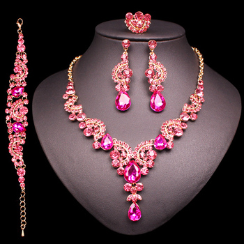 Fashion Crystal Jewelry Sets Jewelry Jewelry Sets Women Jewelry Metal Color: 4 pcs suit pink