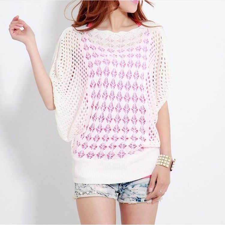 Pullover frauen Pullover 2020 aushöhlen Knit Fledermaus Ärmeln pullover Lose Große größe Einfarbig Vestidos MMY17104