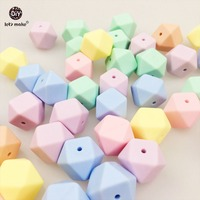 Let's Make Silicone Beads 17MM Nursing Jewelry 50pc Kids Chew Toy Diy Crafts Accessories Candy Color Sensory Toys Octagonal Bead