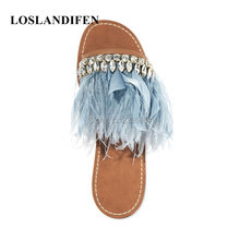 a956e64aa458aa New Style Feather With Shiny Crystal Gladiator Sandals Women Cozy Leather Flip  Flops Fashion Flat Shoes Woman Zapatos Mujer