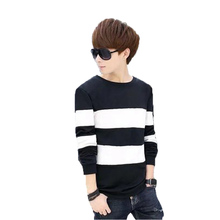 2017 HOT Casual Sweatshirts Hoodies Sportswear Basic Color Stripe Pullovers Men's Fashion Slim O-Neck O-Neck Winter Coat Clothes