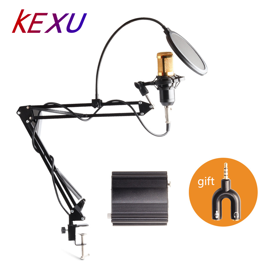 KEXU profession bm 800 condenser microphone for computer karaoke mic <font><b>bm800</b></font> <font><b>Phantom</b></font> <font><b>power</b></font> pop filter Multi-function sound card image