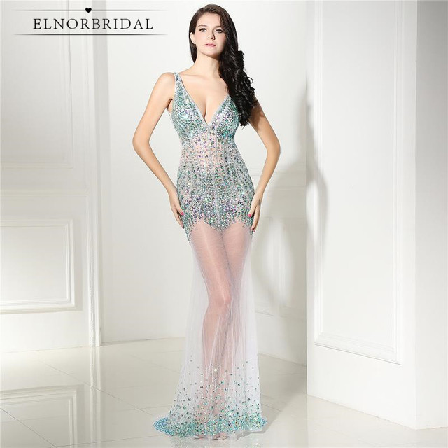 Sexy Backless Mermaid Evening Dresses 2017 Avondjurk Vestidos Longo De Festa Party Prom Dress See Through Formal Gowns