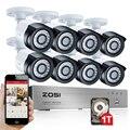 ZOSI 8CH 1080P HDMI Output DVR Video Record 8PCS 2.0 MP CCTV Home Security Cameras Surveillance System Kit 1TB HDD