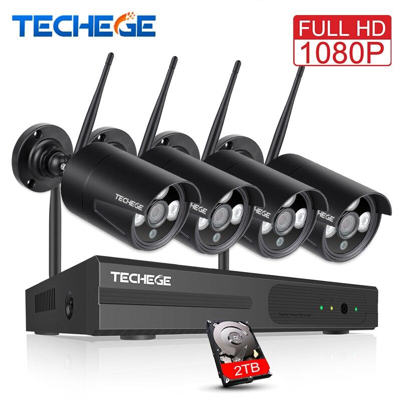 Techege 1080 P 4CH Беспроводной NVR CCTV Системы 2MP открытый Водонепроницаемый P2P Wi-Fi IP Камера Водонепроницаемый безопасности комплект видеонаблюдения